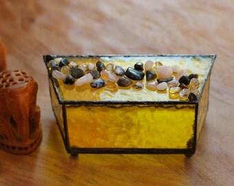 Yellow Glass Box with Semi-Precious Stones