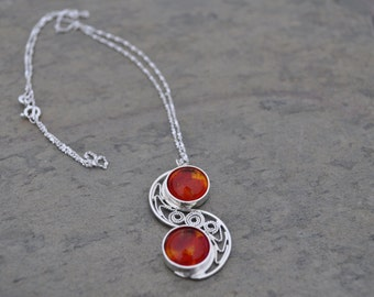 "Double Red and Amber Glass, ""S"" Shaped Filigree Necklace"