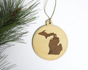 Michigan Ornament // Christmas Tree Ornament // Michigan Tag // Made in Michigan // Christmas Gifts Under 10