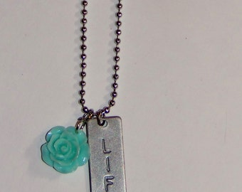 """necklace with robin's egg blue flower and """"life"""" charm, great gift idea, stocking stuffer, teacher appreciation"""