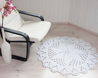 Round white crochet carpet - doily rug - handmade rug - lace rug - cotton white doily rug - home decor - floor mat 105 cm/ 41,3 inches