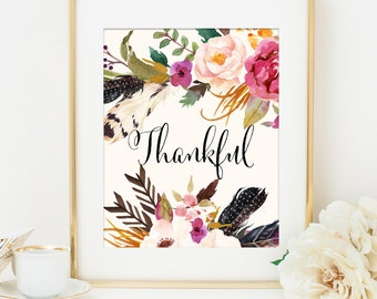 Thankful Printable Art Print, Thanksgiving Printable, 8x10, Fall Artwork, Fall Home Decor, Feathers Flowers Tribal Print, Tribal Wall Art