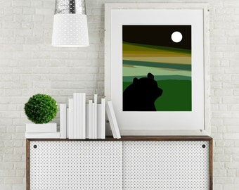 "Modern Wall Art, Mid Century Art Print, Abstract Print, Moon Art, Bear Art, Wildlife Art, Dusk, kids Art, Colorful Art, ""Same Moon Bear"""