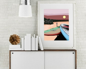 "Modern Wall Art, Mid Century Art Print, Abstract Landscape, Lake Art, Paddle Boards, Summer Fun, Cabin Art, Colorful Art,""Rise and Paddle"""