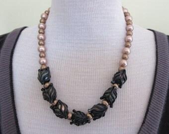 Handmade Lampwork Glass Beads with Gold Swarovski Glass Pearls