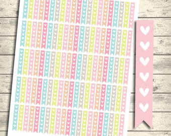 SALE 40% OFF Checklist Flags, Heart Flags, To Do List, Erin condren Printable Planner Stickers, Instant Download, Eclp Heart Checklist Flags