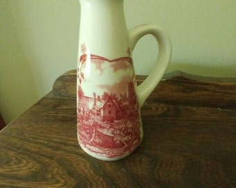 Vintage red transferware-Scenes after Constable by W.H. Grindley