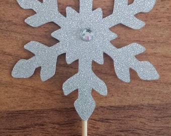 Snow flake cupcake toppers, 12 Frozen cupcake toppers,  kids birthday, Silver glitter,  Ice princess cupcake toppers, Frozen
