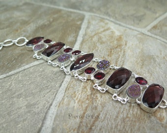 Kunzite Titanium Drusy Garnet Sterling Silver Bracelet