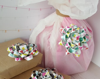 Colorful Splash Heart Gift Bows