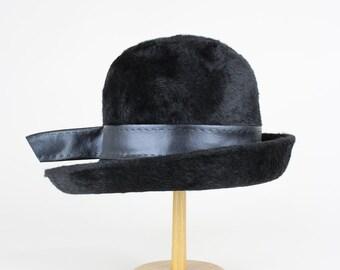 Sharon Originals 1960s Vintage Hare Fur Black Hat Wedding Size XS – S / UK 6 1/2 / USA 6 5/8