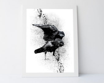Crow art print, modern wall art print, contemporary print, black and white art print, wall art printable, printable poster, printable art
