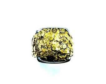 2361-Men's Gold Nugget Ring-Promotion 15% Off