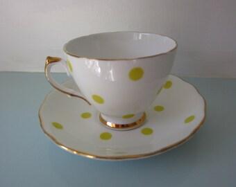 Royal Vale Bone China Yellow Polka Dot Cup and Saucer (1950's)