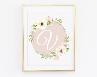 Letter V - Typography print - Typography wall art - Custom typography print - Monogram print - Pale pink floral wreath - Letter prints