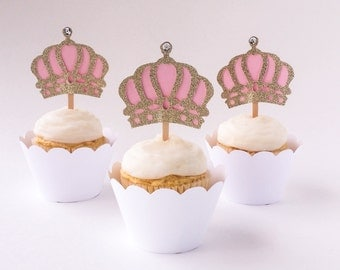 Set of 12 –Gold & Light Pink Crown Cupcake Toppers - Crown Cupcake Picks – Food Picks – Gold Crown Cupcake Picks - Ready to Ship