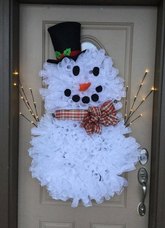 Snowman Shaped Mesh Wreaths