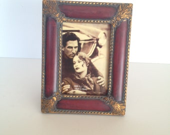 """3 1/2x5 Burgundy Picture Frame with Gold highlights for 3 1/2"""" x 5"""" (9cm x 13cm) Photo"""
