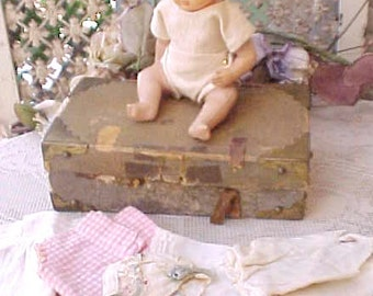 Sweet Antique German Celluloid Baby Doll in Trunk with Little Clothes