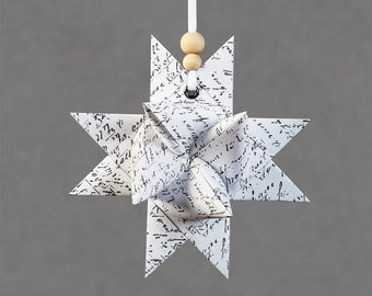 Hand Stamped Paper Star - a folded Nordic Style Christmas Ornament