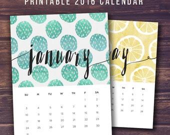 Printable 2016 Calendars, Printable Calendar, 2016 Wall Calendar, Calender, 2016 Calender, Desk Calendar, Printable 2016, INSTANT DOWNLOAD