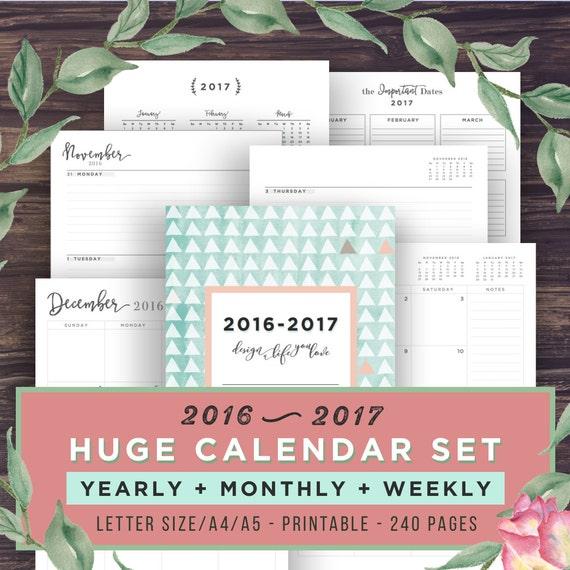 2017 Planner Calendar Printable Planner by PrintablePineapple