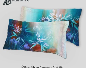 Abstract Pillow shams set, Decorative Master bedroom decor, Teal turquoise navy blue coral orange peach mint green, Designer bedding throw