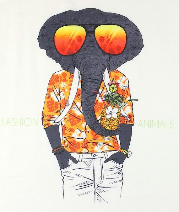 Fashion Animal Tank, Elephant Tank Top, Sunglass Shirt, Hawaiian, Boho, Festival Wear, Hippie Clothes, Spiritual, Gypsy