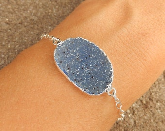 Blue Druzy Silver Bracelet Quartz Crystal Drusy Sterling Silver Free Shipping Jewelry