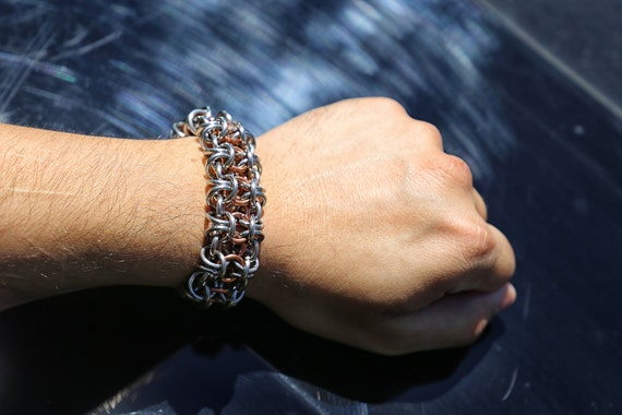 Stainless Steel and Copper Gridlock Byzantine Chainmaille Bracelet - Chainmail Bracer - Chainmaille Cuff - Chain Bracelet - Maille
