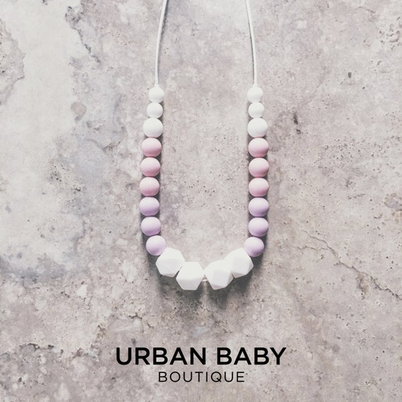 Charlotte Lavender Pink Silicone Bead Teething Necklace - Mint Necklace, Chewable Necklaces, Hexagon Teething Necklaces, BPA Free Jewellery