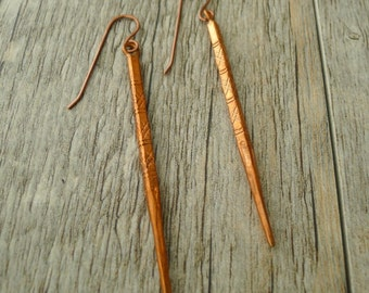 Hill Tribe Copper Daggers, dangle earrings, hand forged antique copper ear wires, handmade, no. EAR-485