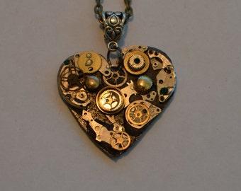 Clockwork,Heart ,Steampunk,pendant ,necklace,vintage