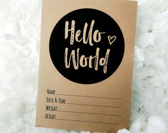 "Printable Baby Arrival ""Hello World"" Cards - Birth Announcement - Boy or Girl - Monochrome - Modern - Milestone - Minimalist - DIGITAL"