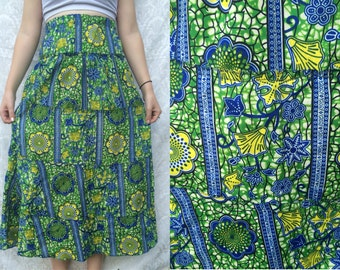 1960s 70s Handmade Bright Psychedelic Floral Ethnic Maxi Skirt Sz XS-S