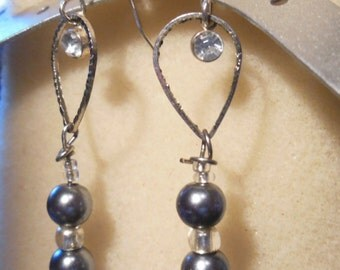 Silver and white dangle earrings, One of a kind design