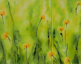 Acrylic paintings abstract canvas paintings acrylic painting meadow nature dandelion diptych original