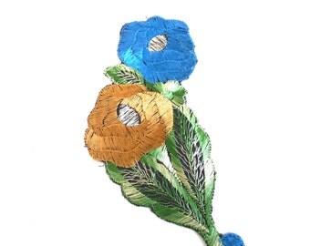 Antique Applique, Flower Patch, Applique, flower applique, 1930s  embroidered applique. Vintage floral patch, sewing supply. #648G101K1