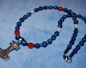 Mjolnir Necklace - thor's hammer - thor - norse - viking - heathen - blue onyx, carnelian, vesuvianite, quartzite