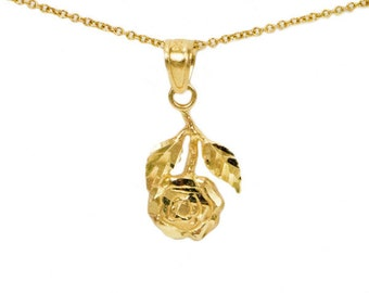 10k Yellow Gold Rose Necklace