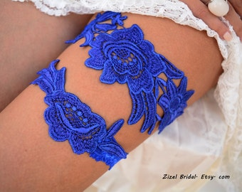 Cobalt Blue Garter, Wedding Garter, Blue Wedding Garter, Wedding Garter Set, Something Blue, Wedding Garter Blue, Blue Garters, Lace Garters