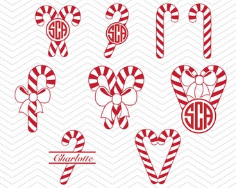 Christmas Candy Canes Monogram Bow DXF SVG PNG eps Holidays Cut File for Cricut Design, Silhouette studio, Sure A Lot, Makes the Cut