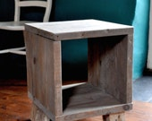 Reclaimed wood Bedside Side Table Industrial Rustic Modern Furniture Scaffold boards Pallet wood legs Upcycled Furniture End Table