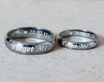 Personalized Engraved Ring Band, Men or Womens Ring, Custom Handstamped, Memory Ring, 925 Sterling Silver with Black Ruthenium Plate