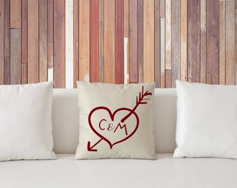 """Valentines Pillow, Personalized Heart with Initials Pillow 18""""x18"""", Valentines Day Gift, friend gift, special gift,  home decor"""
