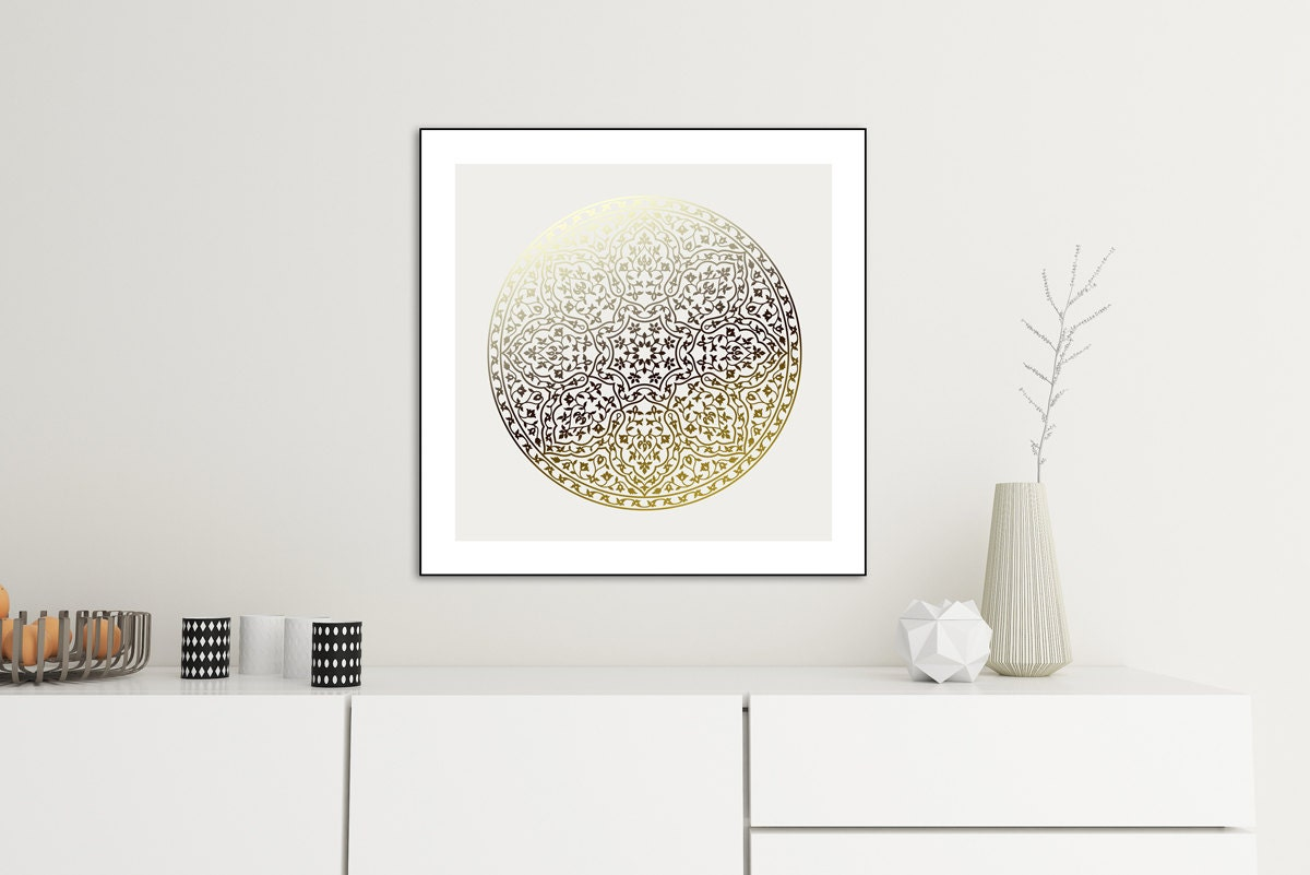 Wall Art Decor Gold : Gold mandala decor art wall