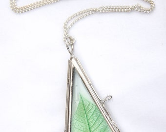 Pressed*Dried Real Skeleton Leaf Necklace*Pendant in Glass Frame with Silver Colour Surround. Your choice of chain or ribbon.