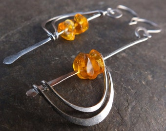 Amber & Surgical steel Earrings; Handmade hammered surgical steel wires with Amber stones