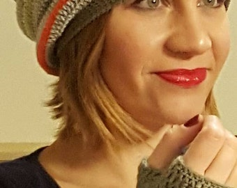 All slouchy and mittens Hat wool Merino