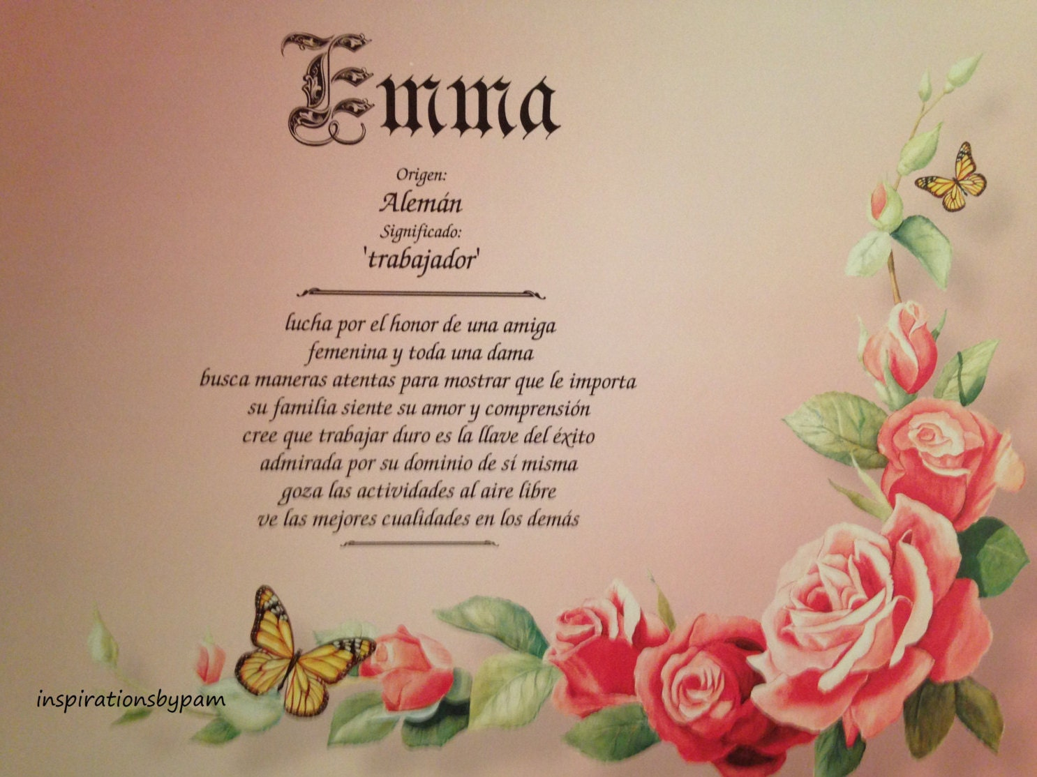 Emma First Name Meaning Art Print-Spanish Emma Name